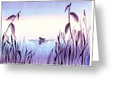 When The Sky Melts With Water A Peaceful Pond Greeting Card