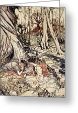 Where Often You And I Upon Fain Primrose Beds Were Wont To Lie Greeting Card by Arthur Rackham