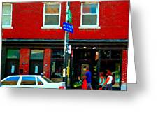 Wheres The Beef On Rue Notre Dame Joe Beef Resto Montreal Urban  Art Scene Carole Spandau Greeting Card