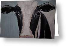 Whimisical Holstein Cow Original Painting On Canvas Greeting Card