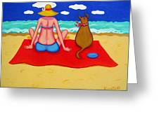 Whimsical Beach Seashore Woman And Dog Greeting Card