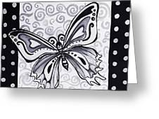 Whimsical Black And White Butterfly Original Painting Decorative Contemporary Art By Madart Studios Greeting Card