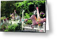 Whimsical Carousel Horse Fence Greeting Card