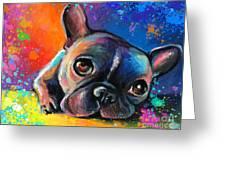 Whimsical Colorful French Bulldog  Greeting Card