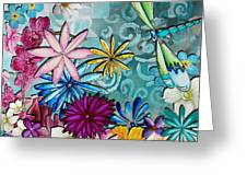 Whimsical Floral Flowers Dragonfly Art Colorful Uplifting Painting By Megan Duncanson Greeting Card