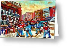 Whimsical Hockey Art Snow Day In Montreal Winter Urban Landscape City Scene Painting Carole Spandau Greeting Card by Carole Spandau