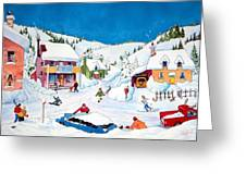 Whimsical Winter Village Greeting Card