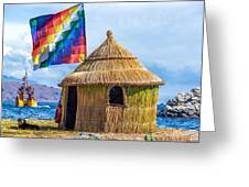 Whiphala Flag On Floating Island Greeting Card