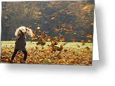 Whirling With Leaves Greeting Card