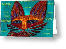 Whiskers Meowing Greeting Card
