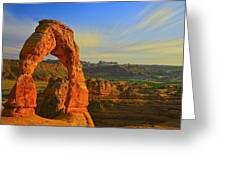 Whispy Clouds Over Delicate Arch Greeting Card