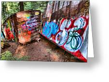 Whistler Train Wreck Covered In Graffiti Greeting Card