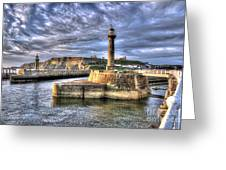 Whitby Harbour On The North Yorkshire Coast Greeting Card