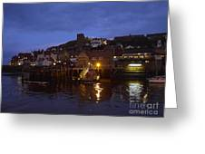 Whitby Lower Harbour And The Rnli Lifeboat Station At Night Greeting Card
