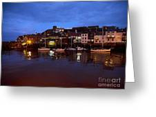 Whitby Lower Harbour At Night Greeting Card