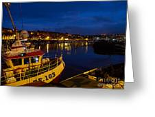 Whitby Upper Harbour At Night Greeting Card