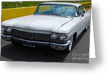 White 1960 Caddy Greeting Card