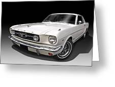 White 1966 Mustang Greeting Card