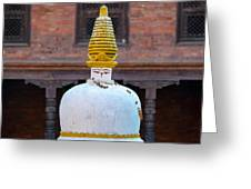 White And Golden Chorten Greeting Card