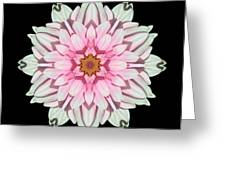 White And Pink Dahlia I Flower Mandala Greeting Card