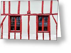 White And Red Half-timbered House Detail Greeting Card