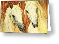 White Arabian Horses Greeting Card