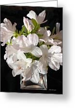 White Azalea Bouquet In Glass Vase Greeting Card