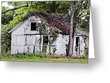 White Barn In Autumn Greeting Card