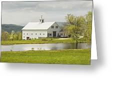 White Barn On Farm In Maine Fine Art Prints Greeting Card