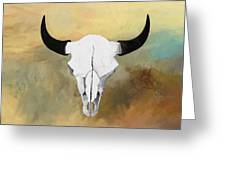 White Buffalo Skull Greeting Card by GCannon