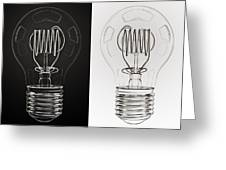 White Bulb Black Bulb Greeting Card