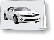 White Camaro Greeting Card