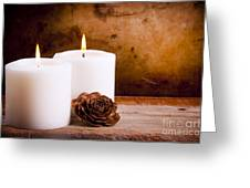 White Candles With Rose Greeting Card