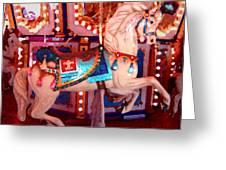 White Carousel Horse Greeting Card