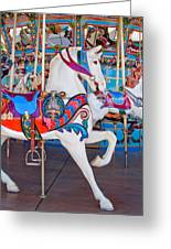 White Carousel Horse Greeting Card