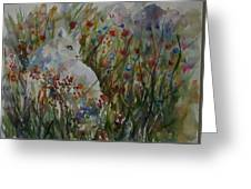 White Cat In Flowers Greeting Card