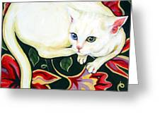 White Cat On A Cushion Greeting Card