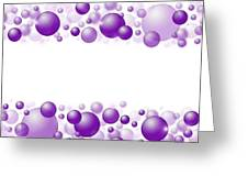 White Christmas Background With Purple Balls. Greeting Card