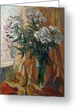 White Chrysanthemums Greeting Card