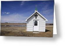 White Church Chapel  On Prairie Greeting Card