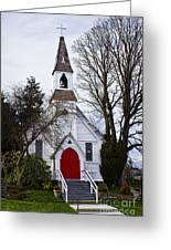 White Church With Red Door Greeting Card by Elena Nosyreva