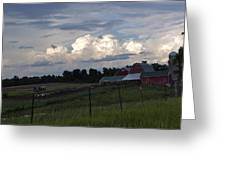 White Clouds Over The Farm Greeting Card
