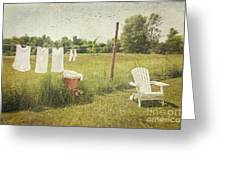 White Cotton Clothes Drying On A Wash Line  Greeting Card by Sandra Cunningham