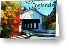 White Covered Bridge  Colorful Autumn New England Greeting Card