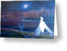 White Crane Dancing In The Light Of The Moon Greeting Card