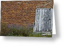 White Door In Brick Building Greeting Card