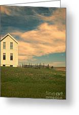 White Farmhouse And Corral Greeting Card