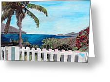 White Fence At English Harbour Antigua West Indies Greeting Card