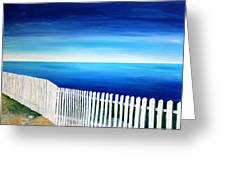 White Fence In Port Reyes National Seashore California Greeting Card