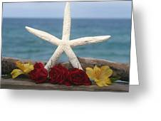 White Finger Starfish And Flowers Greeting Card